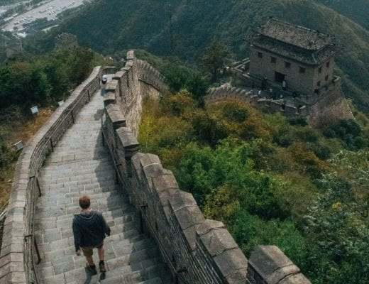 Man walking down Great Wall of China, one of the most instagrammable places in China
