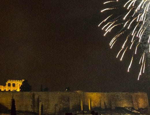 New Year's Eve in Athens, fireworks behind acropolis