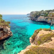 Turquoise seas and craggy cliffs on Mallorca, Spain
