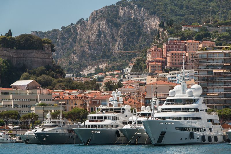 Port Hercule in Monaco, with large yachts docked