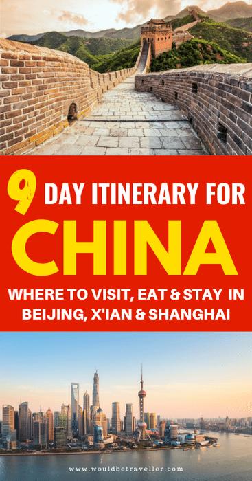 9 day China itinerary pin