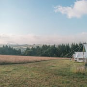 Eco Glamping site in Wales in the UK, tents overlooking the fields