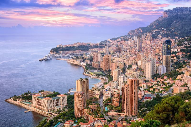 aerial shot of Monaco, showing everything there is to see with 24 hours in Monaco