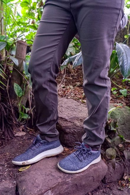 Long trousers and comfortable shoes in the jungle