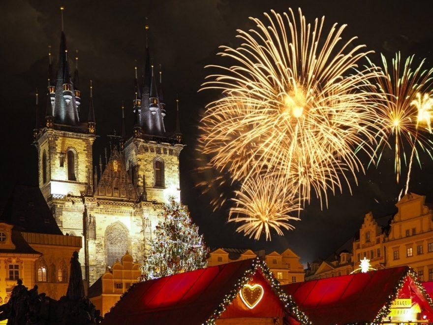 Prague Christmas market with fireworks